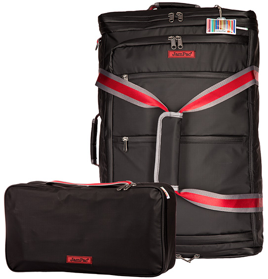 The JamPac, a large well padded backpack/holdall/shoulder bag that comes with its own organiser case. Part of the LeanPac family suite of travel bags.