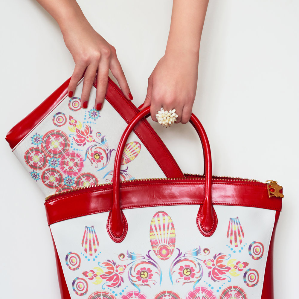 Clutch and Tote in cherry red