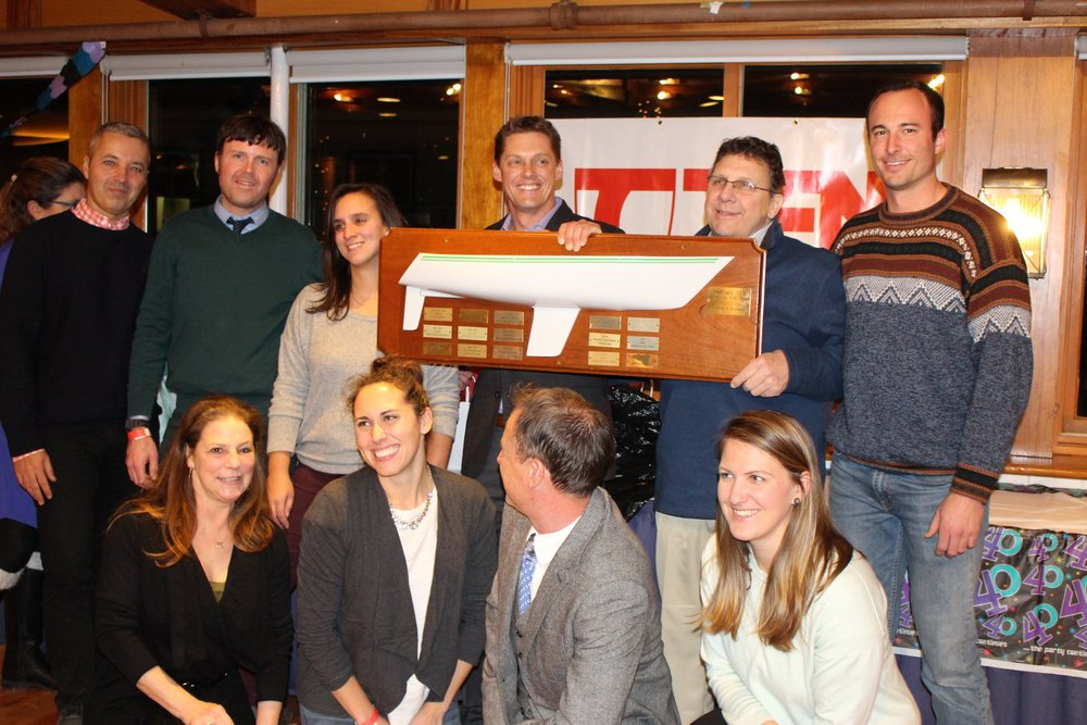 Brian Kaczor and the crew of Erica accept BOY Buoy, Port-to-Port and Overall champion honors.