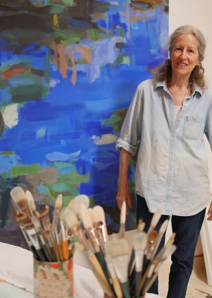 Louise Baum at her studio in Santa Fe, New Mexico