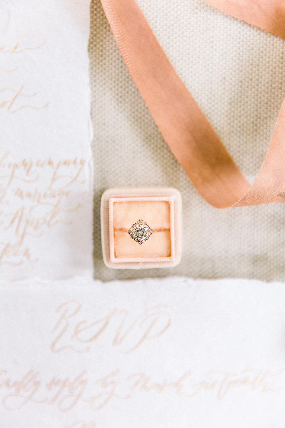 Engagement Ring and wedding stationery.