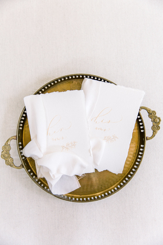 Calligraphy wedding vows.