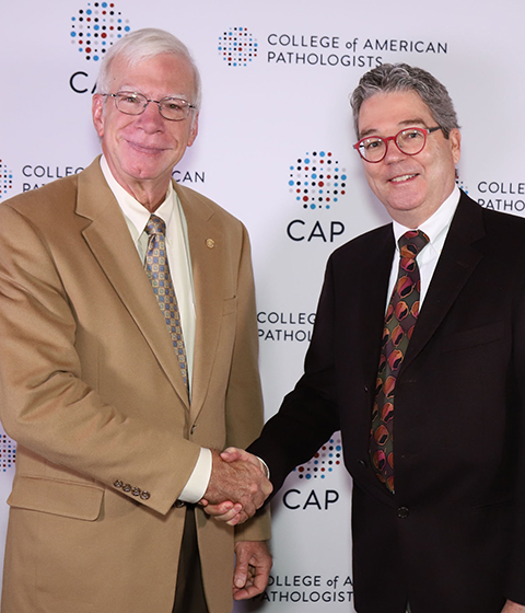 Terry receives the  College of American Pathologists' 2017 Excellence in Education Award  from President Bruce Williams, October 2017.