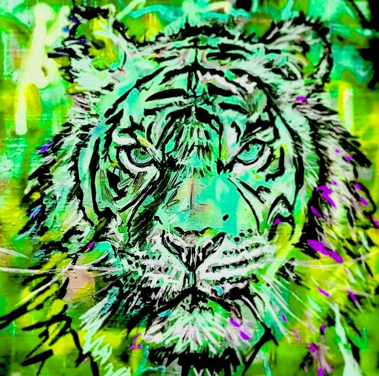 Tiger Print-Green 36x36