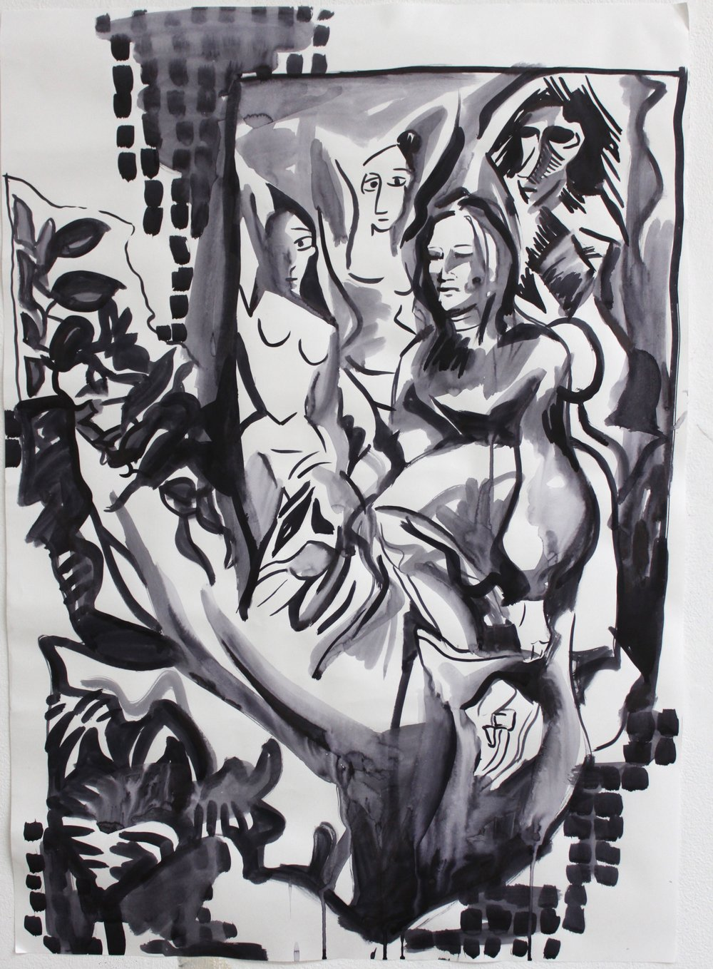 Picasso Girls (study)  29.7x42cm Ink on paper  2017