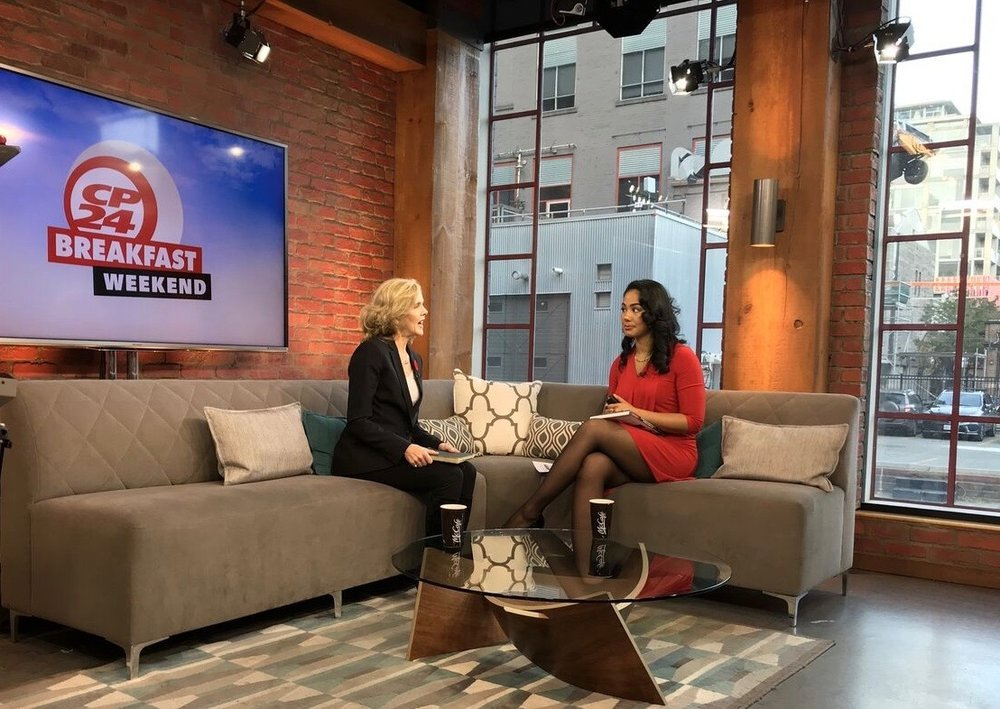 Author Janet Land speaks with the host Kayla Marie Williams of CP24 Breakfast Weekend