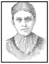 Mrs Balzer (Mary Klingel Fronert), murder victim. Artist sketches from the murder trial. Source: Mankato Free Press 2 Jan 1897.