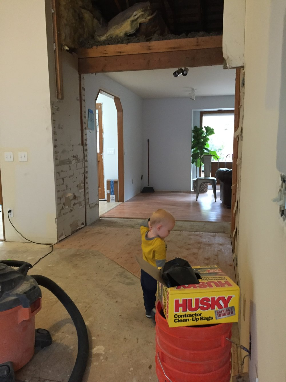 After the fireplace was out I had to do some quick thinking on what we were going to do with those other walls.