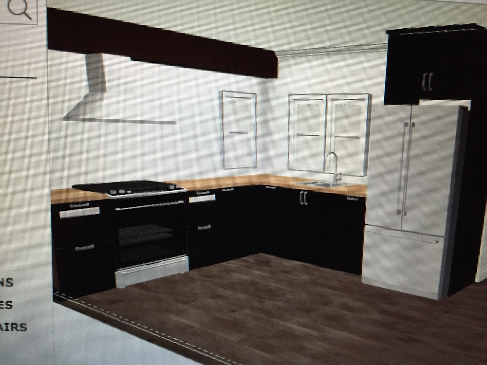 After opening up the room, we designed an Ikea Kitchen. There were a couple hiccups. One being that beam above the stove. It was covered by a soffit. So instead of tryin to hide the beam I decided to incorporate it in the design.