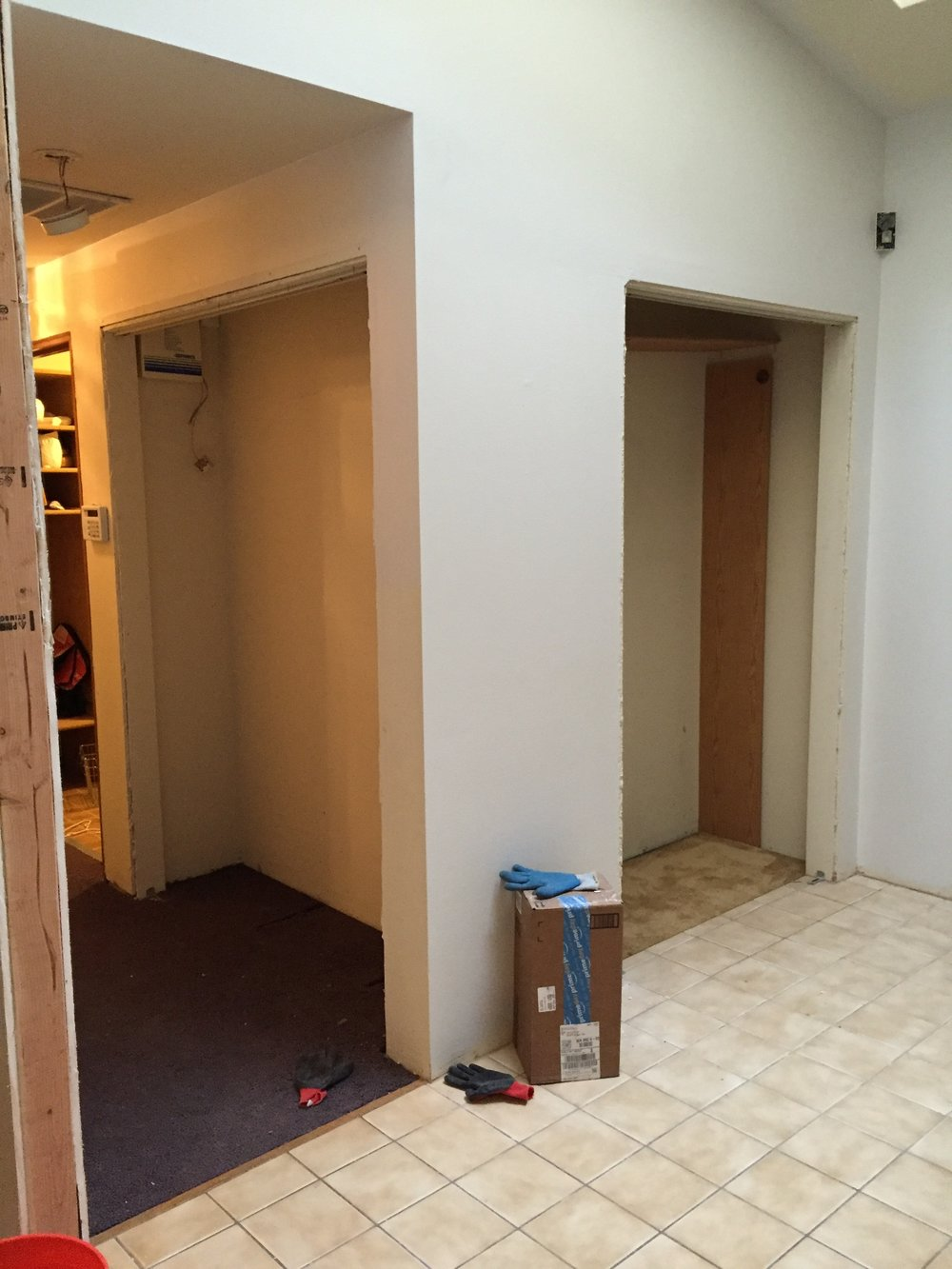 I decided to take out that hall closet to open up the laundry room and make the entry closet larger.