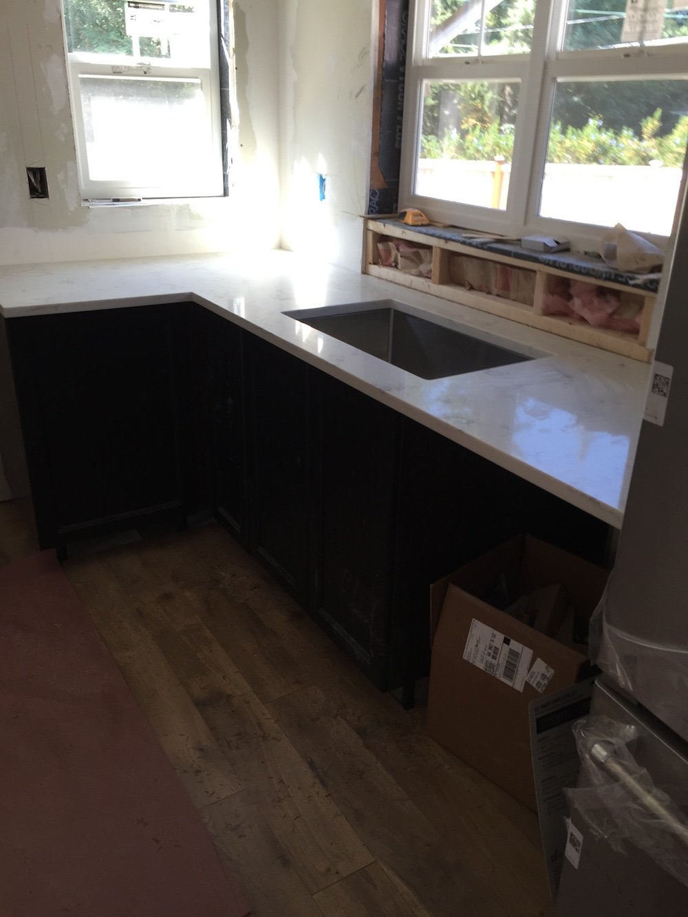 I choose MSI Quartz, Carrara Grigio, for the countertops. I wanted light countertops but did not want marble.