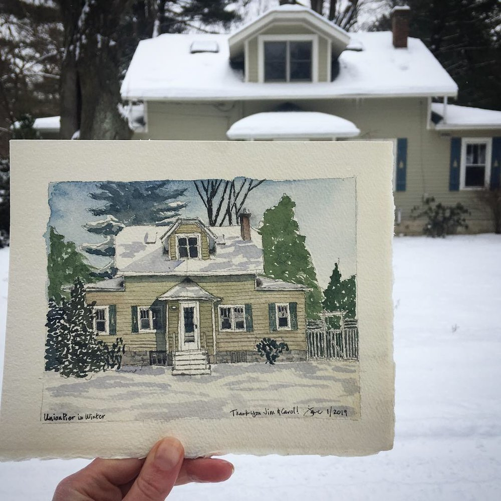 Painting of the home where we stayed in Union Pier