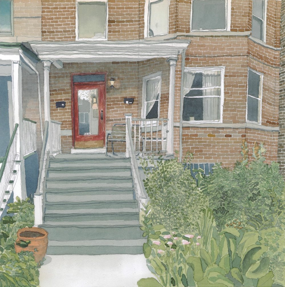 A painting from the first series featuring the home of Mel and Angie