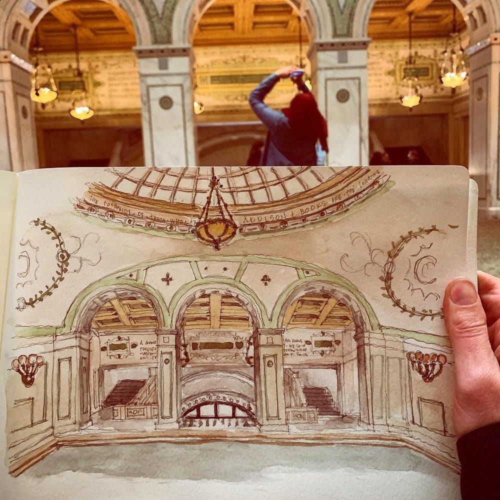 Sketching in Preston Bradley Hall
