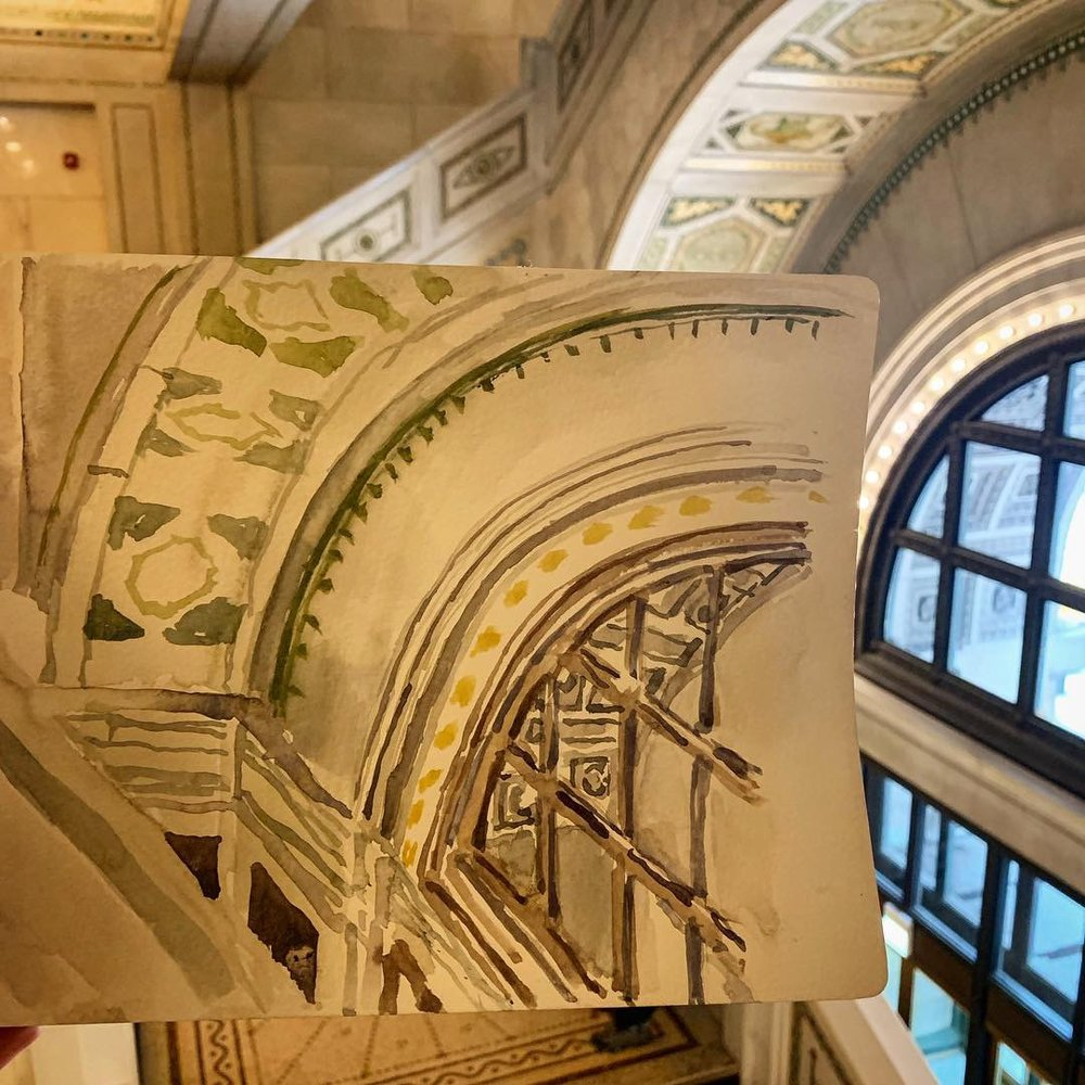 Direct watercolor at the grand stair