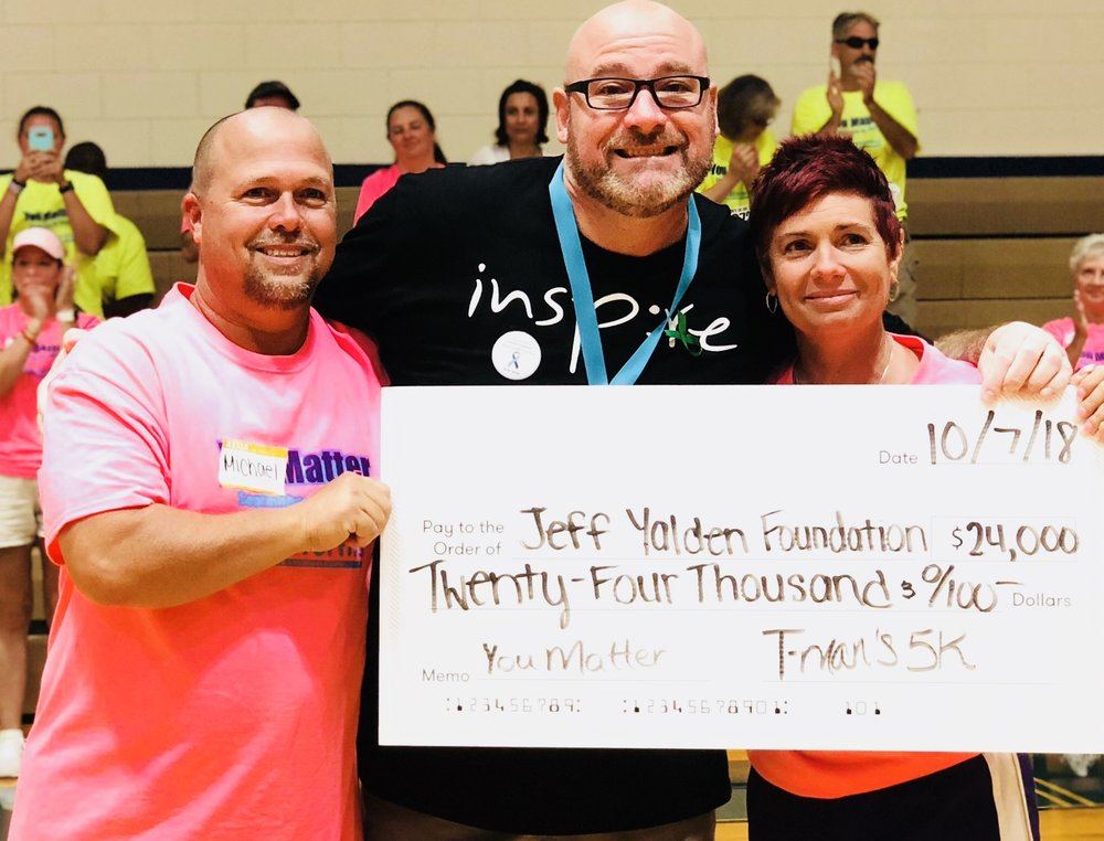 The Jeff Yalden Foundation, Inc. is proud to accept the proceeds of the T-Man's 5K in Mooresville, NC.