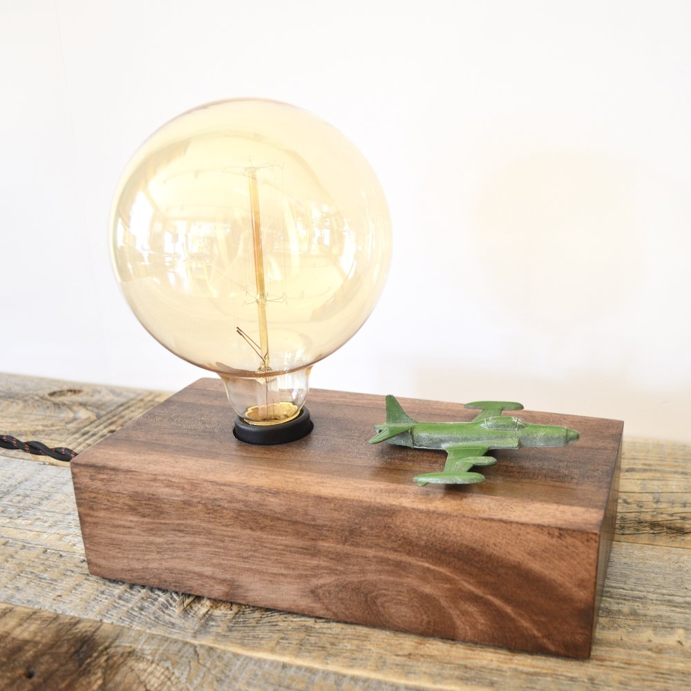 Vintage Toy Airplane Touch Sensor Lamp With Edison Bulb