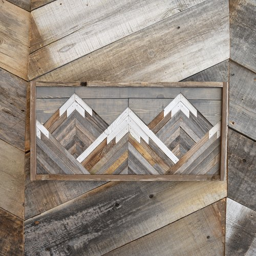 Grey Wash Reclaimed Barn Wood Mountain Scene Wall Art — Revampt Goods