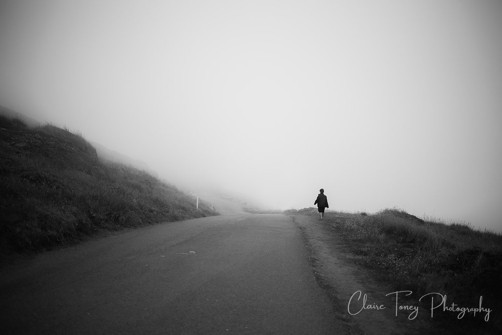 Foggy day at Point Reyes CA. A little boy in a black coat is walking along the side of the road.