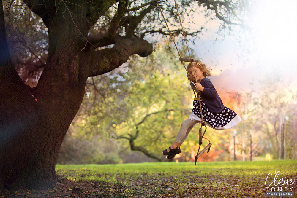 Girl swinging on a ladder swing from a huge tree.
