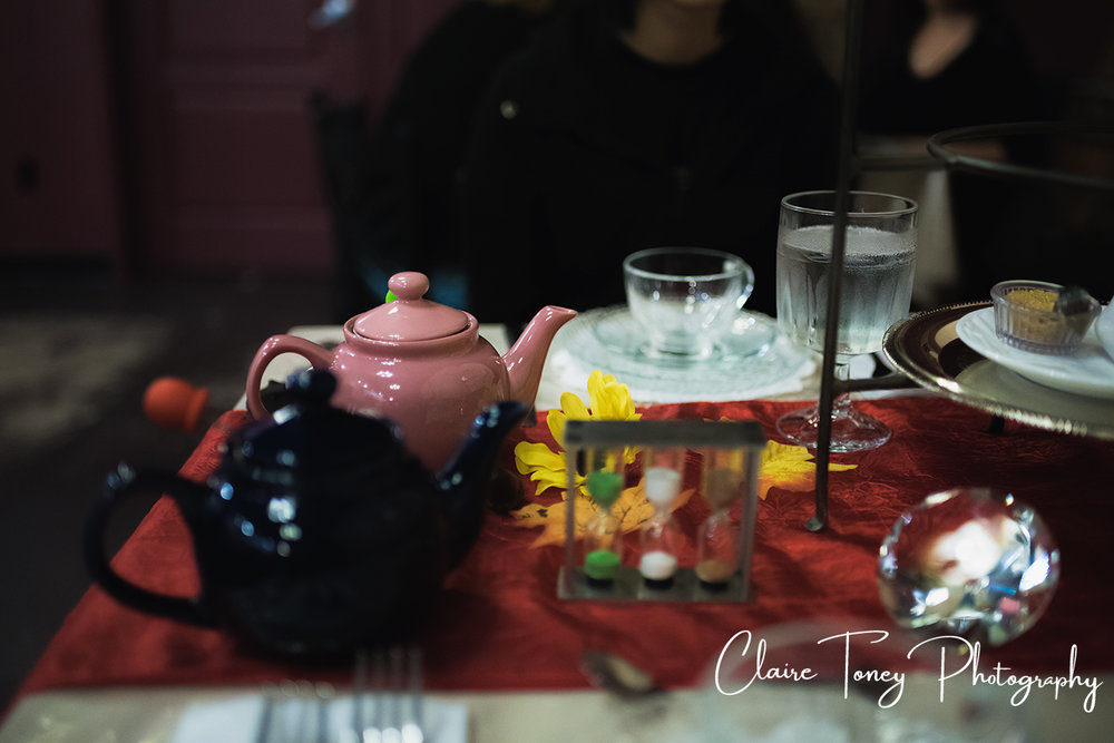 Tea pots and timer at Dash of Panache Teahouse Roseville CA Documentary Photography Claire Toney
