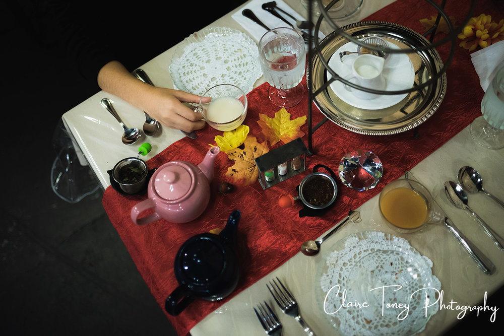 tea setting at Dash of Panache Teahouse Roseville CA Documentary Photography Claire Toney