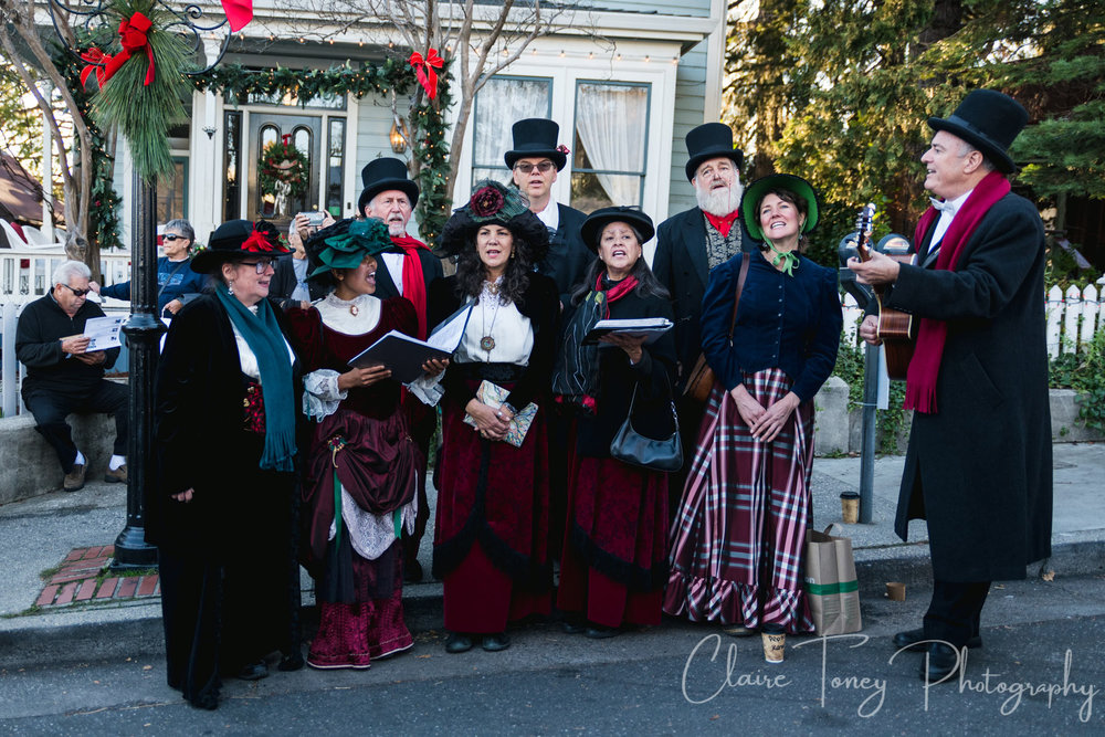 The beautifully costumed Christmas Carolers at the Victorian Christmas event in Nevada City