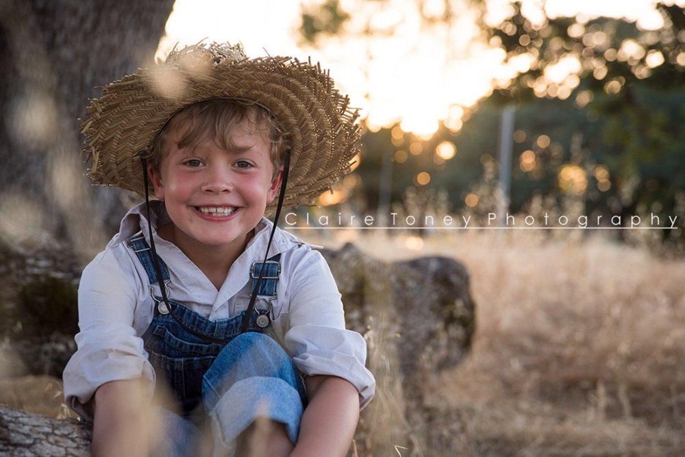 A sweet smile after our Huckleberry Finn Styled Child Photography Session. Claire Toney Photography, Sacramento Photographer