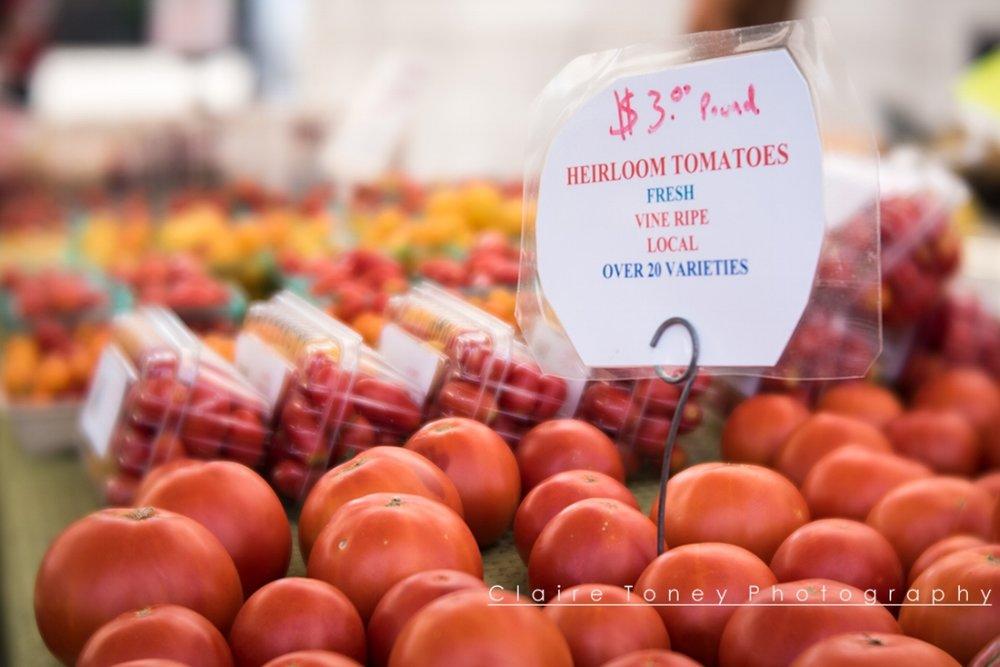 Tomatoes at High Hand Farmer's Market taken with Lensbaby Velvet 56 Lens