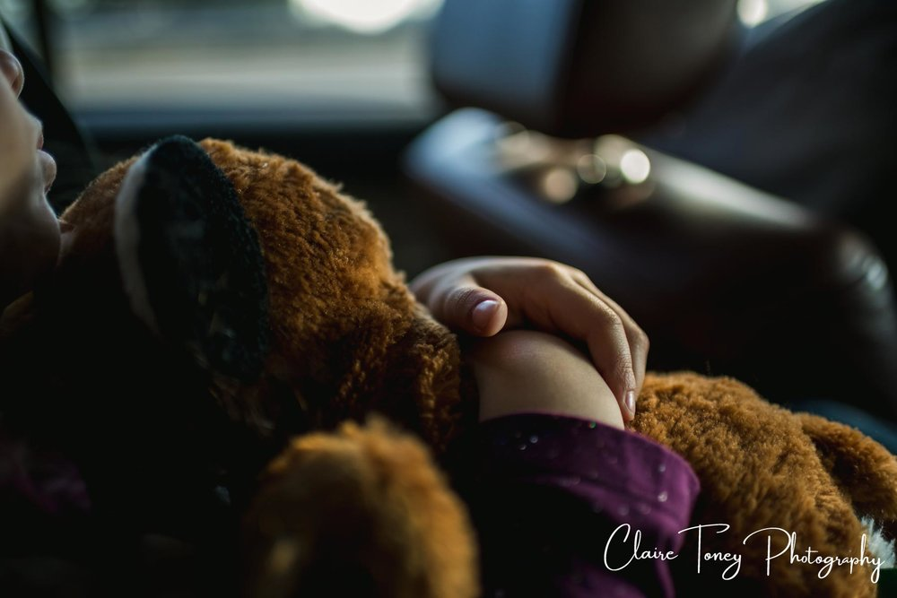 sleeping girl holding her stuffed animal on the way home