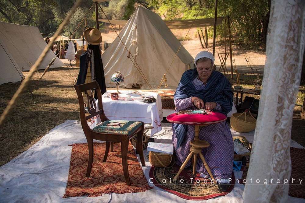 Woman making lace at the Marshall Gold Discovery State Park