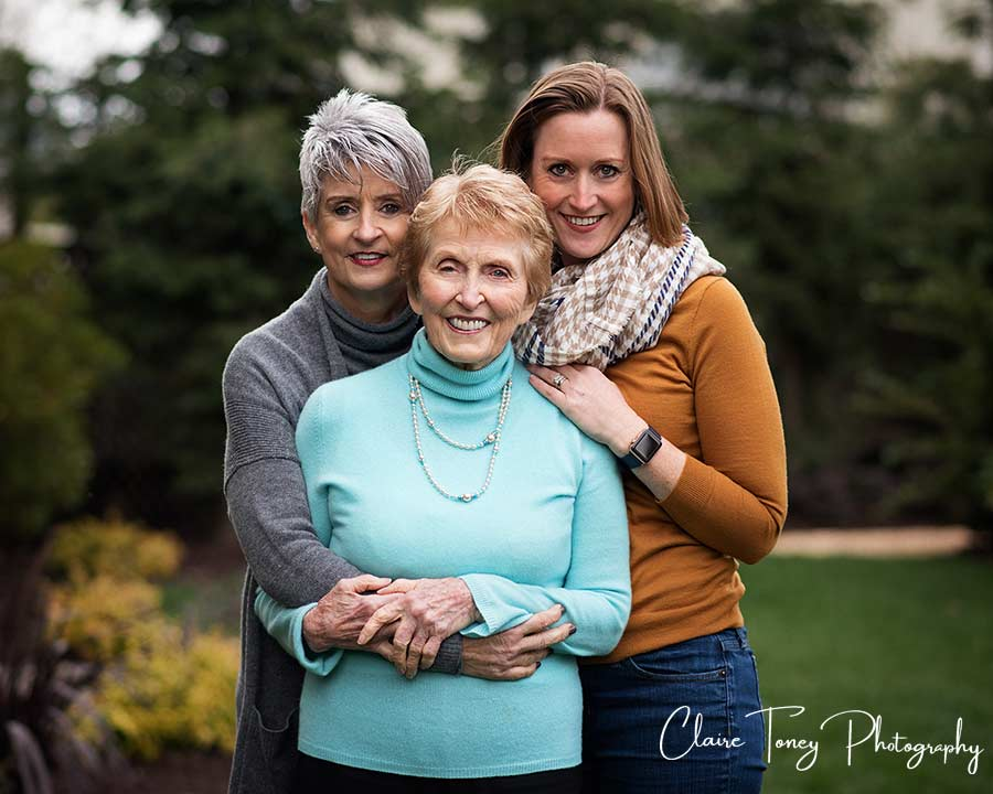 3 generation portrait with grandmother, daughter, and adult granddaughter