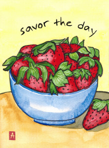 """savor the day"" is 5×7, painted with sumi ink and Japanese watercolor on paper. It is available as a card or print."
