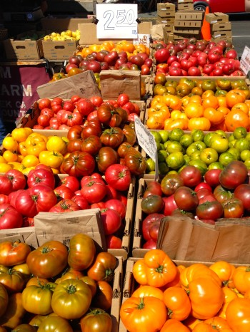 Heirloom tomatoes at the Arcata farmers' market.