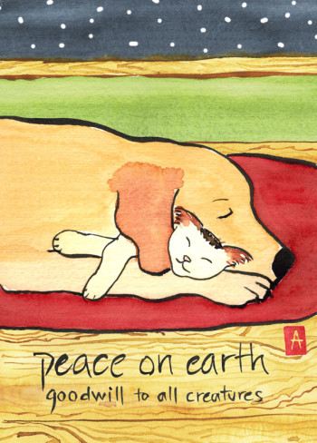 """peace on earth"" is 5×7, painted with sumi ink and Japanese watercolor on paper and digitally edited. It is available as a  holiday card  or small print. © 2014 Annette Makino"