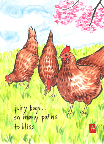 """juicy bugs"" is 11×14, painted with sumi ink and Japanese watercolors on paper. The original has sold, but it is available as a card or print. Another card with the same art reads  ""happy birthday, spring chicken."" ) Published on DailyHaiga, Nov. 16, 2014. © 2014 Annette Makino"