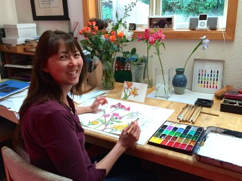 Artist Annette Makino paints flowers in her studio in Arcata, California using sumi ink and gansai paint, or Japanese watercolors.