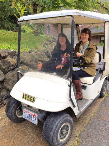 Haiku ahead! Annette Makino and daughter Maya at the Seabeck Haiku Getaway, October 2015.