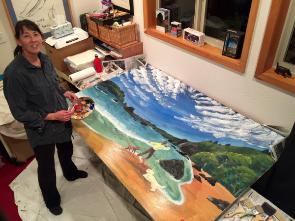 "Putting the finishing touches on ""Luffenholtz Beach,"" 72×48, house paint on plywood. © Annette Makino 2015"
