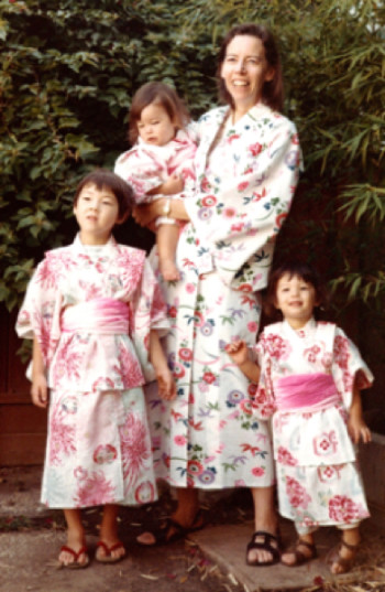My mother, sisters and I (standing, left) wear kimonos sent from Japan by my grandparents. (Santa Monica, California, 1969.)
