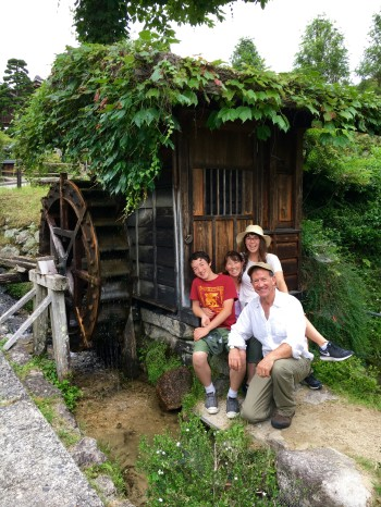 Annette Makino surrounded by husband Paul, daughter Maya and son Gabriel in Tsumago at the end of a day of hiking the Nakasendo trail.