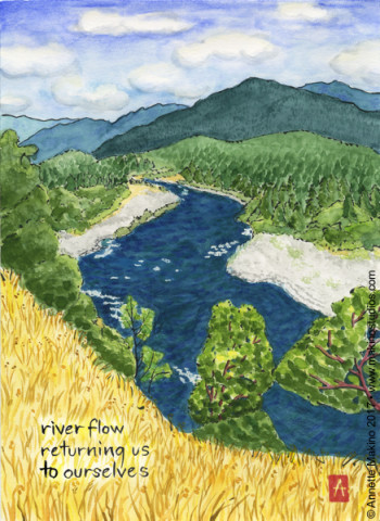 """river flow – Klamath"" is 11×14, painted with sumi ink and Japanese watercolors on paper. It is available as a greeting card reading, ""what a joy to know you—happy birthday!"" © Annette Makino 2017"