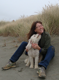 Misha with his person. Mad River Beach, Arcata, California, November 2012.