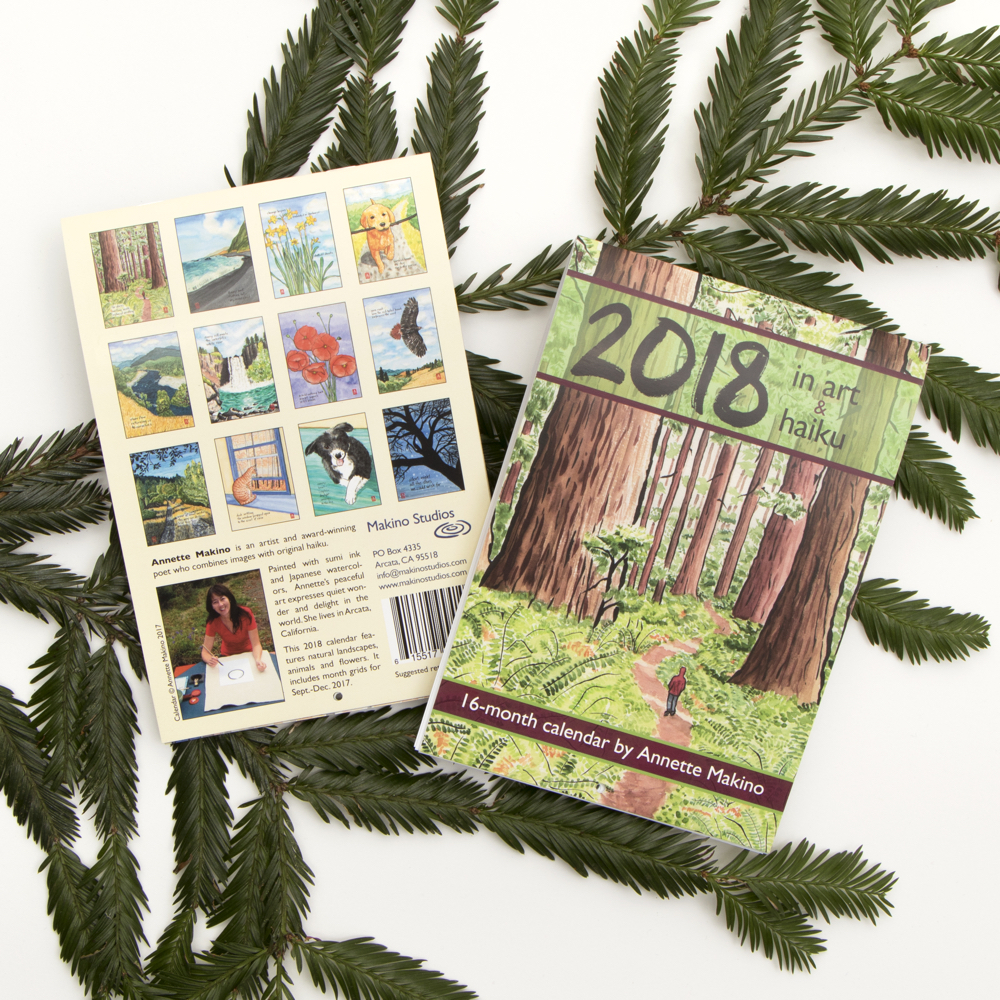 The 2018 calendar of art and haiku is now available in stores and  online .
