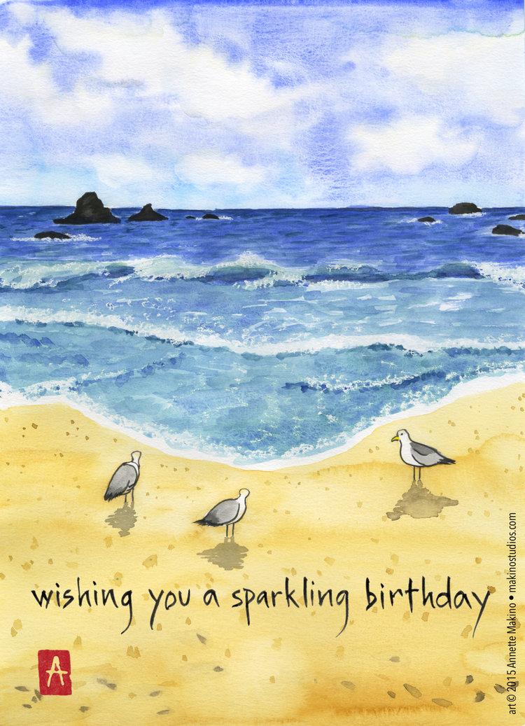 202. beach birthday card — Makino Studios