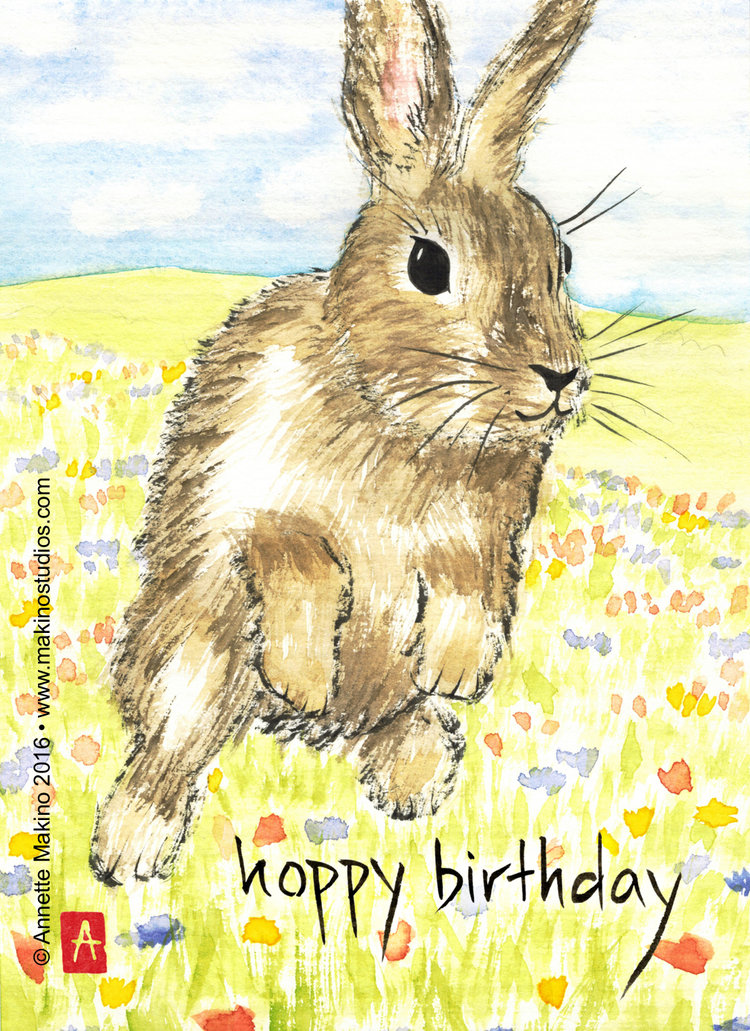210 Funny Bunny Birthday Card Makino Studios