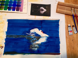 Swan Lake:  This was a study in layering color on an image with a black background, shown in progress.