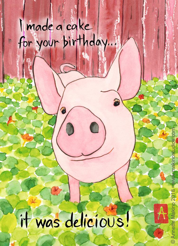 251 Funny Pig Birthday Card Makino Studios