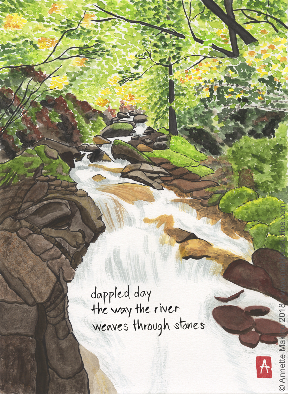 """dappled day"" is 11x14, painted with Japanese watercolors and sumi ink on paper. It is one of the new pieces in my 2019 calendar. A greeting card version reads, ""in wilderness we find our way home."" © Annette Makino 2018"