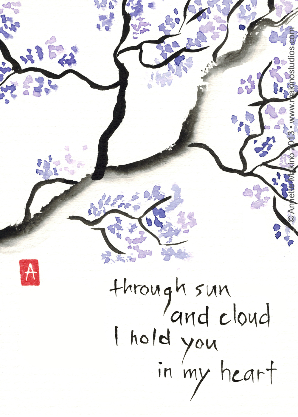 """through sun and cloud"" is 5x7, painted with sumi ink and Japanese watercolors on paper. It is available as a  greeting card . © Annette Makino 2013"